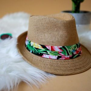 Straw fedora hat with tropical bandana